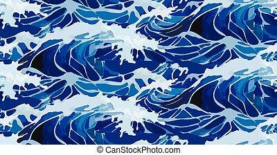 aquarela, padrão, tempestade, ondas