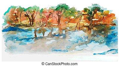 aquarela, paisagem, lago, árvores, natureza