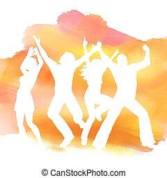 aquarela, pessoas, fundo, dançar