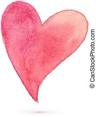 aquarela, pintado, coração, para, seu, desenho