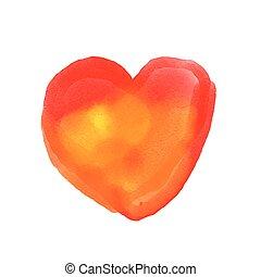 aquarela, pintado, coração vermelho, vetorial, elemento, para, seu, desenho