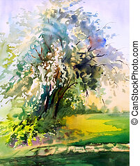 aquarela, primavera, árvore, quadro, florescer