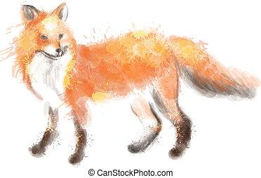 aquarela, raposa, ilustração