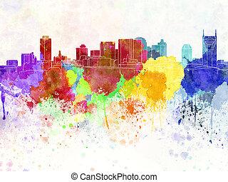 aquarela, skyline, nashville, fundo