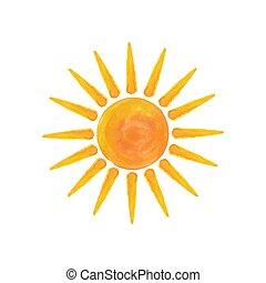 aquarela, sol, olá, verão
