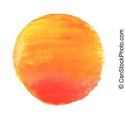 aquarela, sol, vetorial, ilustração