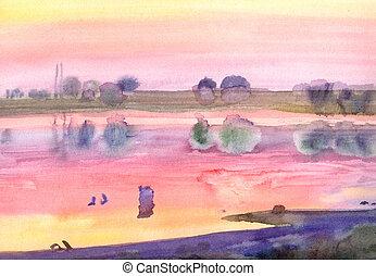 aquarela, sulista, paisagem