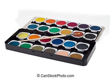 aquarela, tintas, escova