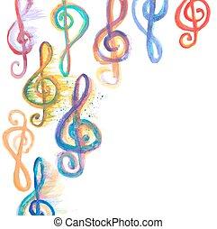aquarela, triplo, clefs, g