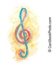 aquarela, triplo, multicolor, clef, g
