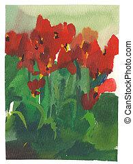 aquarela, tulips, quadro