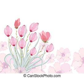 aquarela, tulips, quadro, original