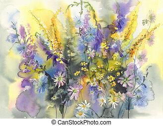 aquarela, verão, flores, fundo
