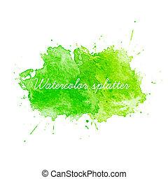 aquarela, verde, vetorial, splatters., ilustração