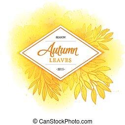 aquarela, vetorial, folheia, fundo, outono