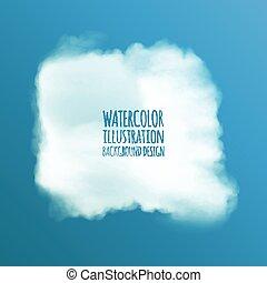 aquarela, vetorial, nuvens, design.