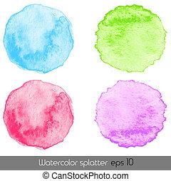 aquarela, vetorial, splatters.