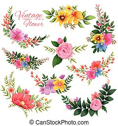 aquarela, vindima, floral, quadro