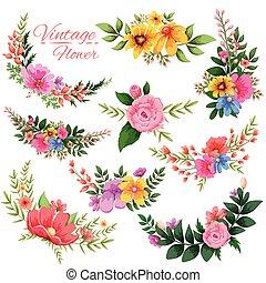 aquarela, vindima, quadro, floral