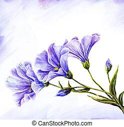 aquarela, wildflowers., painting.