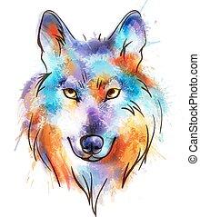 aquarela, wolf's, cabeça, coloridos