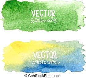 aquarelas, abstratos, aquarela, banners., vetorial, fundo