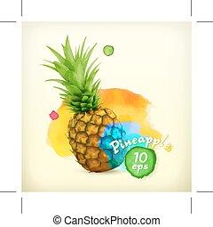 aquarell, abbildung, ananas