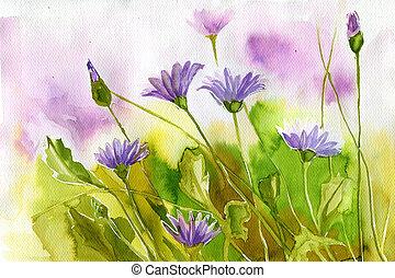 aquarell, abbildung, darstellen, frühjahrsblumen, in, der, wiese