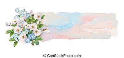 aquarell, banner, mit, blumen