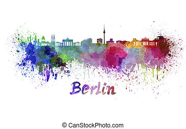 aquarell, berlin, skyline