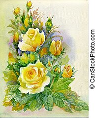 aquarell, blume, collection:, rosen