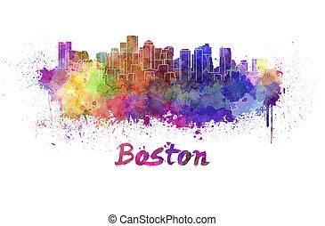 aquarell, boston, skyline