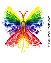 aquarell, der, papillon, in, der, form, von, a, regenbogen