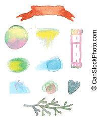 aquarell, elemente, design, verkauf