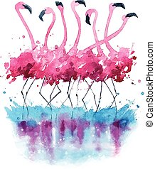 aquarell, flamingos, gemälde
