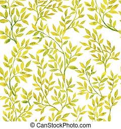 aquarell, flora, grün