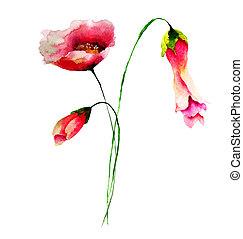 aquarell, frühjahrsblumen, abbildung