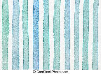 aquarell, gestreift, textured, hintergrund, blaues, cyan,...