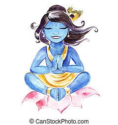 aquarell, gott, indische , krishna., illustration.