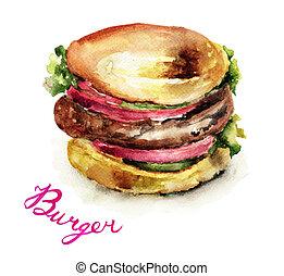 aquarell, hamburger, abbildung