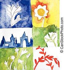 aquarell, karten, abstrakt, natur