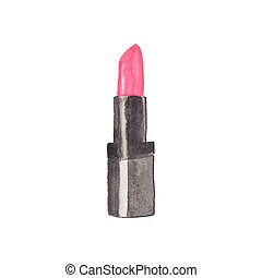 aquarell, lippenstift, nützlich, illustration., machen, einladungen, auf, cosmetics., hand-drawn, vektor, aquarelle., scrapbooking, element., design.