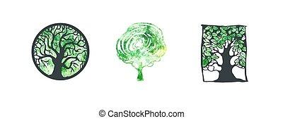 aquarell, logo, baum, sammlung