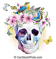 aquarell, lotos, muster