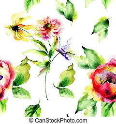 aquarell, muster, blumen-, seamless, abbildung