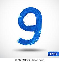 aquarell, number., neun, grunge, hintergrund