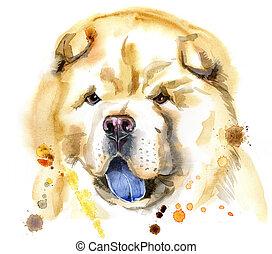 aquarell, porträt, hund, chow-chow