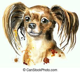 aquarell, porträt, spielzeug, terrier, langhaarig
