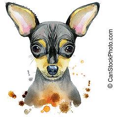 aquarell, porträt, spielzeug, terrier
