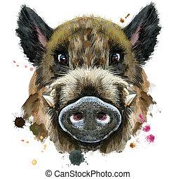 aquarell, porträt, wildschwein
